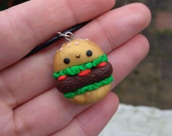 Handmade Polymer clay Kawaii cute Hamburger Quarter pounder Cheeseburger junk food cute chibi gold charm pendant necklace
