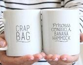 Coffee Mug- Couples Gift -Mug - Mugs - Crap Bag & Princess Consuela Banana Hammock Gift Set