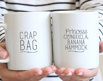 Funny Couples Mugs - Crap Bag Mug - Princess Consuela Mug - His and Her Mug Set - Couples Coffee Mugs - Engagement Mug Set - Dishwasher Safe