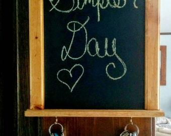 Stylish and functional- solid wood organizational chalkboard, message board, key holder