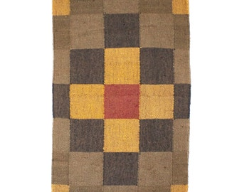 Traditional Multicolour Square Pattern Kilim - Small, rugs kilims, handwoven, jute wool, home decor, colorful, Christmas gift,Christmas deco