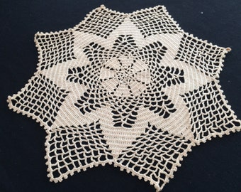 Round Ecru Vintage Cotton Lace Doily. Round Crocheted Doily. Star Pattern Round Ecru (Light Brown/Beige) Doily. RBT0962