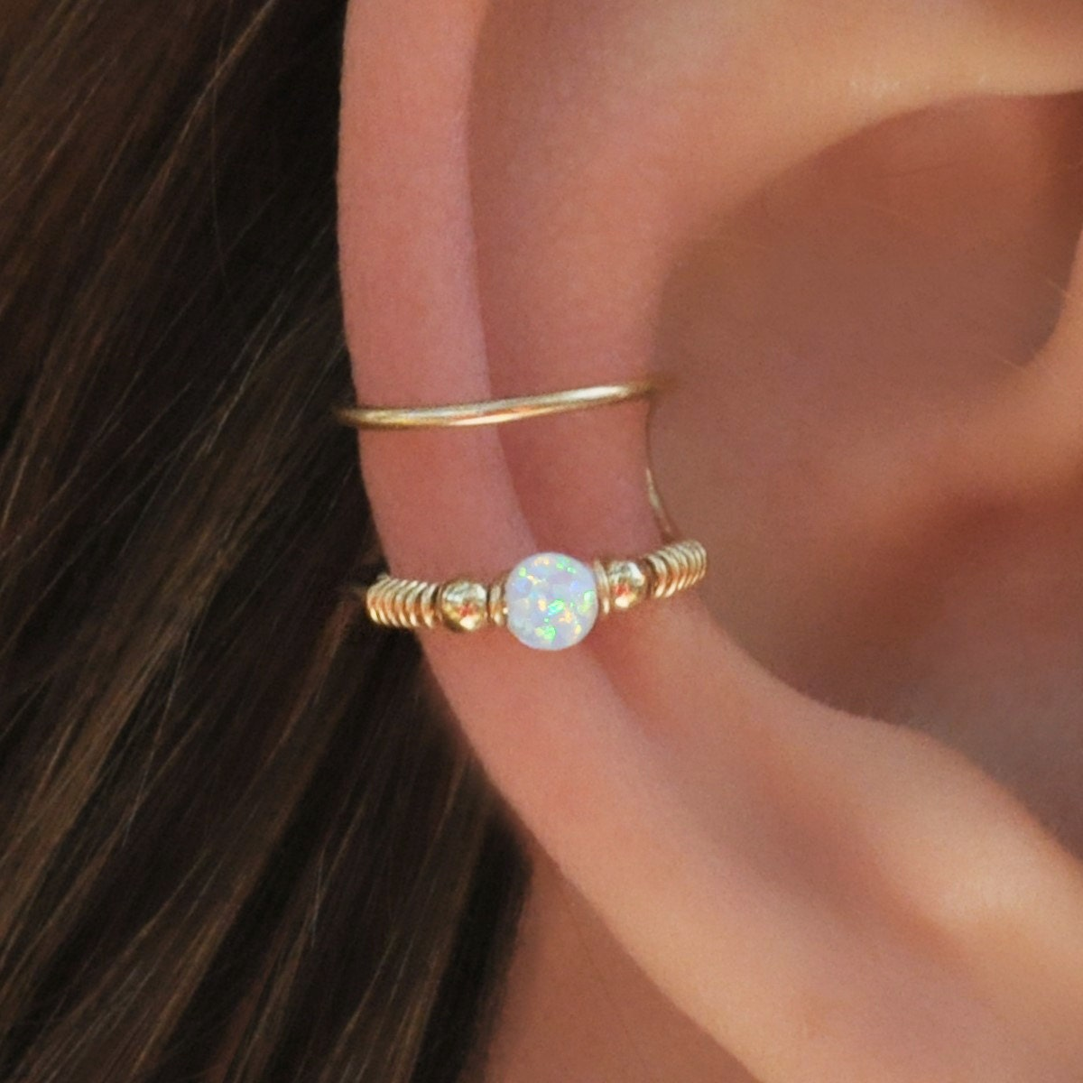 Double Wrap Cuff, White Opal Ear Cuff, Ear Cuff, Fake Piercing, No