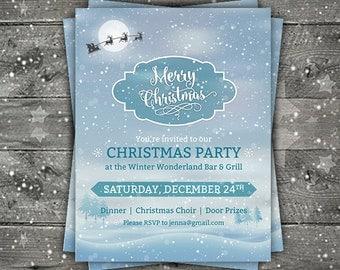 Christmas Flyer, Winter Flyer, Holiday Flyer, Christmas Party Flyer, Snow Flyer, Christmas party invite, custom Christmas flyers, Digital