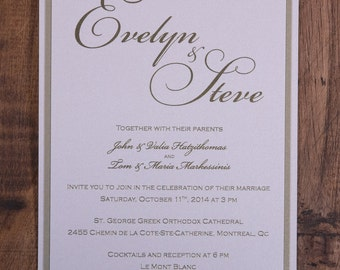 Gold Invitation, Gold Wedding Invitation, Gold Invitations, Gold Wedding Invitations, Script Invitation, Script Invitations, Script Invites