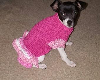 Crochet Ruffeled Doggie Dress Size Small