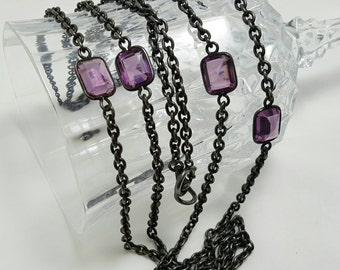 Purple Glass Stone Necklace
