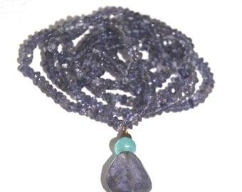 Blue Quartz Beaded Necklace