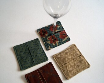 Red and Green Floral Fabric Wine Coasters and Charms set of Four