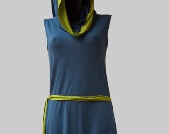 LIOSALFAR Blu cobalto - Abito/Maglia con cappuccio e campanellino – maglina di viscosa, fibra sintetica