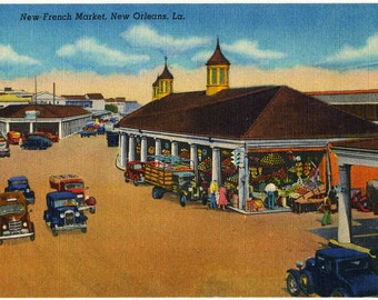 Vintage Linen Postcard, New French Market, New Orleans, Louisiana, 1930's-1940's