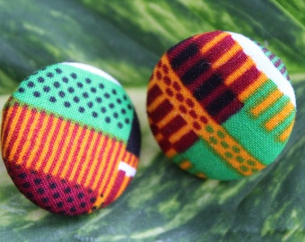 Kente button earrings