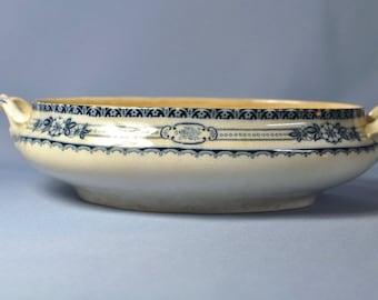 """Vintage Rare Victorian English Porcelain Flow Blue """" Eton """" Leighton Tureen Base Dsc_00331"""