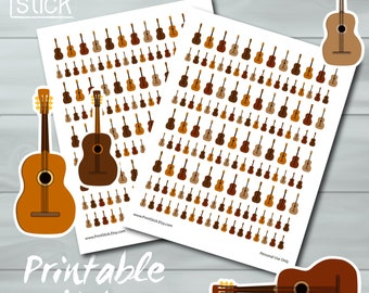 Acoustic Guitar Planner Stickers PRINTABLE - Track your Lessons! - Perfect for your Erin Condren Planner or any other planner or notebook