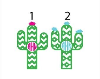 Cactus monogram vinyl decals, desert yeti decal, chevron monogram, aztec monogram, desert monogram, vinyl car decal sticker, tumbler decal
