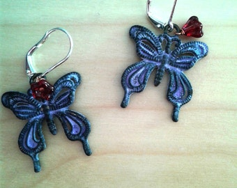 Mauve Patina Butterfly Earrings