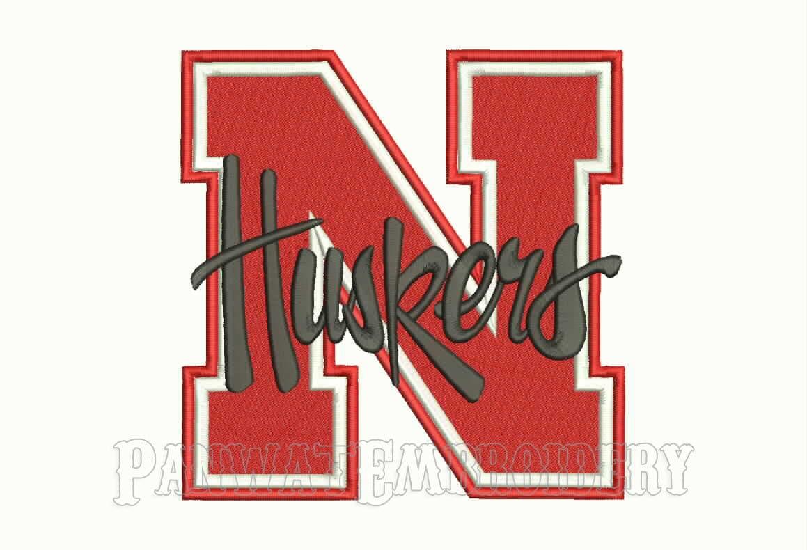 5 Size Nebraska Cornhuskers Logo Embroidery By