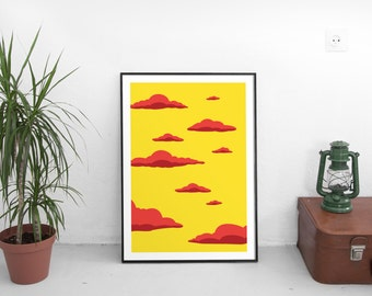 A2 CLOUDS YELLOW Art Print by Robby Ogilvie