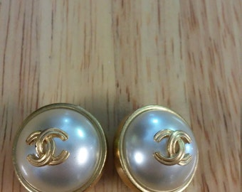 Chanel Faux Pearl Clip on Earrings with CC