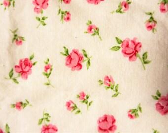 "Vintage pink rosebud cotton reclaimed fabric,  24 x 54"" (2)"