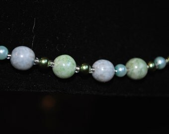 Aqua Mix Glass Bead and Glass Pearl Necklace