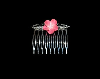 Power Pink Floral Hair Comb