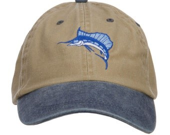 Sailfish Embroidered Washed Two Tone Cap