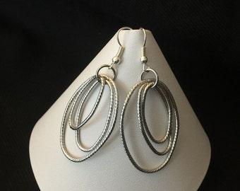 Three Silver Hoops Earrings