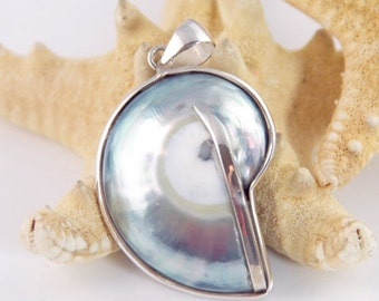 ON SALE Large Blue Shell Pendant, Sterling Silver, Bohemian Style - #ys551a