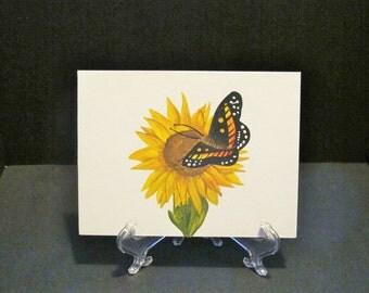 Butterfly on Sunflower- Original hand painted Art Card