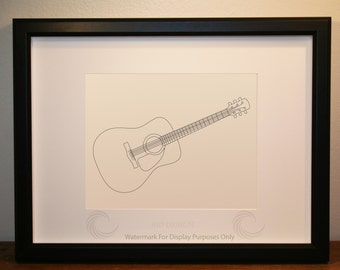 fender dreadnought acoustic guitar picture framed digital art music