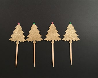 Christmas Tree Cupcake Toppers in gold glitter