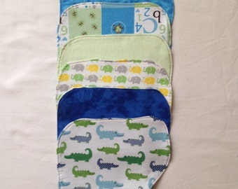 Flannel baby burp cloths in boy colors - set of 3
