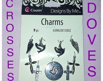 9 Piece Charms Set from Designs By Me.  Crosses, Doves and Wings Themed, Silver Metal Charms.