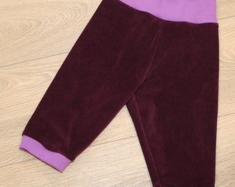 organic velour pants with soft cuffs