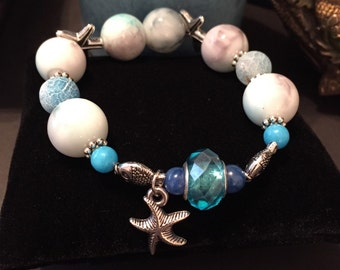 Handmade marbled turquoise beaded bracelet, womens girls stretch bracelet, starfish charm bracelet