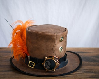 Wild Eye and Crazy Orange Feather Top Hat with Steampunk Monocle