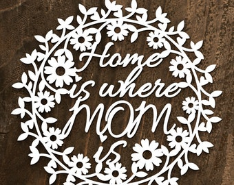 "Papercut Template -""Home is where mom is"", Printable PDF Template Cut Your Own"