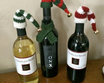 Elf hat wine toppers/set of three