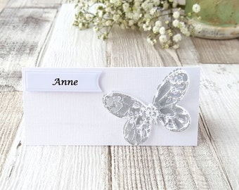 Silver Butterfly Wedding Place Card, Personalised Wedding Name Card, Butterfly Christening Place Card