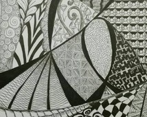 Continuity. 8x10 black and white Zentangle inspired art done in pen and ink.  This art is ready to frame!