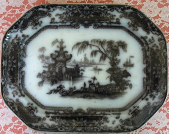 Antique Ironstone  Mulberry  Transfer ware Platter Circa 1850s