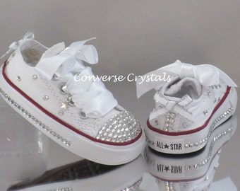 Girls Custom Glass Crystal Toes, Sides, Backs and Fabric *Bling* Converse Infant sizes 2-10. Colour, Crystal & Ribbon Options Available