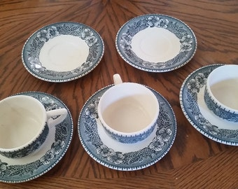 blue and white cup and saucer set/blue and white cups/floral cup and saucer set/blue and white dished/vintage blue and white dishes