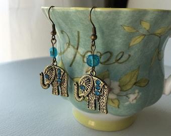Elephant Vintage Brown Earrings