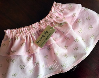 Pink and Gold Baby Girls Skirt - Tiered Skirt - Ruffle Skirt