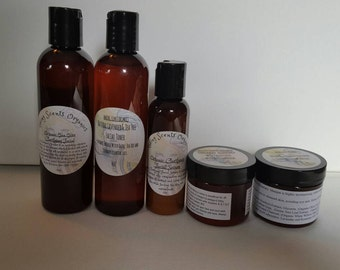 Organic Clear Skin Care Set~Cleanser, Toner, Serum, Masque, and Moisturizer. For Acne, Oily, Combo Skin