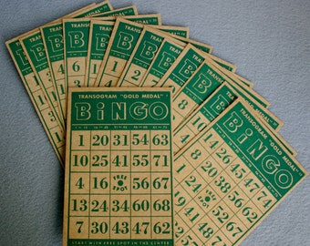 "Transogram ""Gold Medal""  Green Bingo Cards"