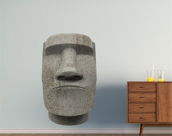 Easter Island Moai Statue Wall Decal Huge Sticker Removeable Reusable Decals Kids Childrens Teen Room Man Cave Garage Den Art Decor