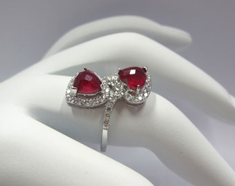 double lovely heart 925 sterling silver with ruby stone